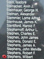 Memorial– Flying Officer Wilbert Stephens is also commemorated on the Bomber Command Memorial Wall in Nanton, AB … photo courtesy of Marg Liessens