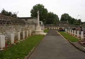 Cemetery– Military section of cemetery with graves of 53 Commonwealth airmen.