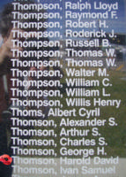 Memorial– Pilot Officer Harold David Thomson is commemorated on the Bomber Command Memorial Wall in Nanton, AB … photo courtesy of Marg Liessens