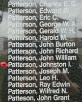 Memorial– Sergeant Johnston Irwin Stewart Patterson is also commemorated on the Bomber Command Memorial Wall in Nanton, AB … photo courtesy of Marg Liessens