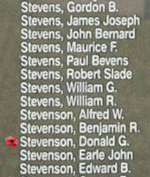 Memorial– Flying Officer Donald Gerald Stevenson is also commemorated on the Bomber Command Memorial Wall in Nanton, AB … photo courtesy of Marg Liessens