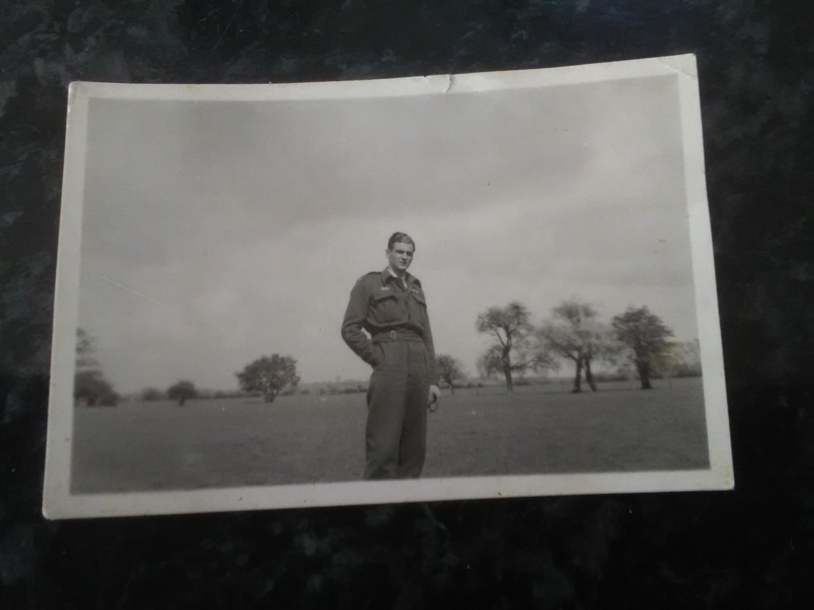 Photo of Claude Alexander Moss– The rear of the photograph states Killed in action over Belgium, June 1944, aged 21. F/O Bud Moss Saskatoon Saskatchewan Canada. It was given to my Mother by her best friend who was engaged to F/O Moss.