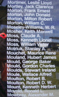 Memorial– Flying Officer Claude Alexander Moss is also commemorated on the Bomber Command Memorial Wall in Nanton, AB … photo courtesy of Marg Liessens