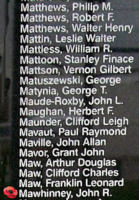 Memorial– Pilot Officer John Robert Mawhinney is also commemorated on the Bomber Command Memorial Wall in Nanton, AB … photo courtesy of Marg Liessens