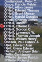 Memorial– Flight Sergeant Edward Lawrence O'Neill is also commemorated on the Bomber Command Memorial Wall in Nanton, AB … photo courtesy of Marg Liessens