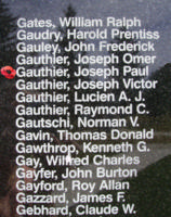 Memorial– Sergeant Joseph Paul Adelard Gauthier is also commemorated on the Bomber Command Memorial Wall in Nanton, AB … photo courtesy of Marg Liessens