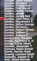 Memorial– Flight Sergeant John Peter Campbell Gordon is also commemorated on the Bomber Command Memorial Wall in Nanton, AB … photo courtesy of Marg Liessens