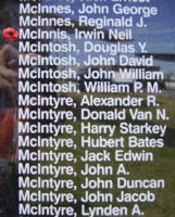 Memorial– Pilot Officer Irvin Neil McInnis is also commemorated on the Bomber Command Memorial Wall in Nanton, AB … photo courtesy of Marg Liessens