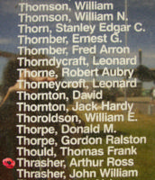 Memorial– Flying Officer Arthur Ross Thrasher is commemorated on the Bomber Command Memorial Wall in Nanton, AB … photo courtesy of Marg Liessens