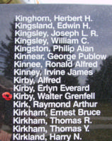 Memorial– Flight Sergeant Walter Grenfell Kirby is also commemorated on the Bomber Command Memorial Wall in Nanton, AB … photo courtesy of Marg Liessens
