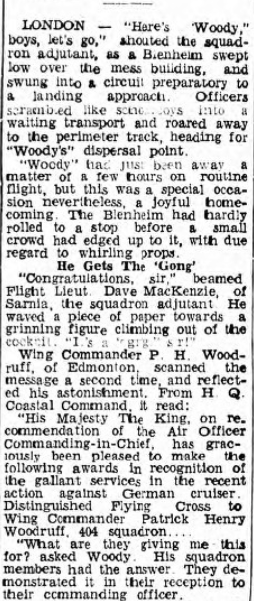 Newspaper Clipping– Squadron Leader Keith Louis Bate Hodson c. 1942........promoted to Air Vice Marshall....... died in 1960 while a member of the RCAF Support Unit Colorado Springs........no find-a-grave memorial.........