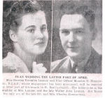 Newspaper clipping– Newspaper clipping believed to be from 1942 picturing F/O Zimmerman and fiance Miss Bernice Veronica Lannan.