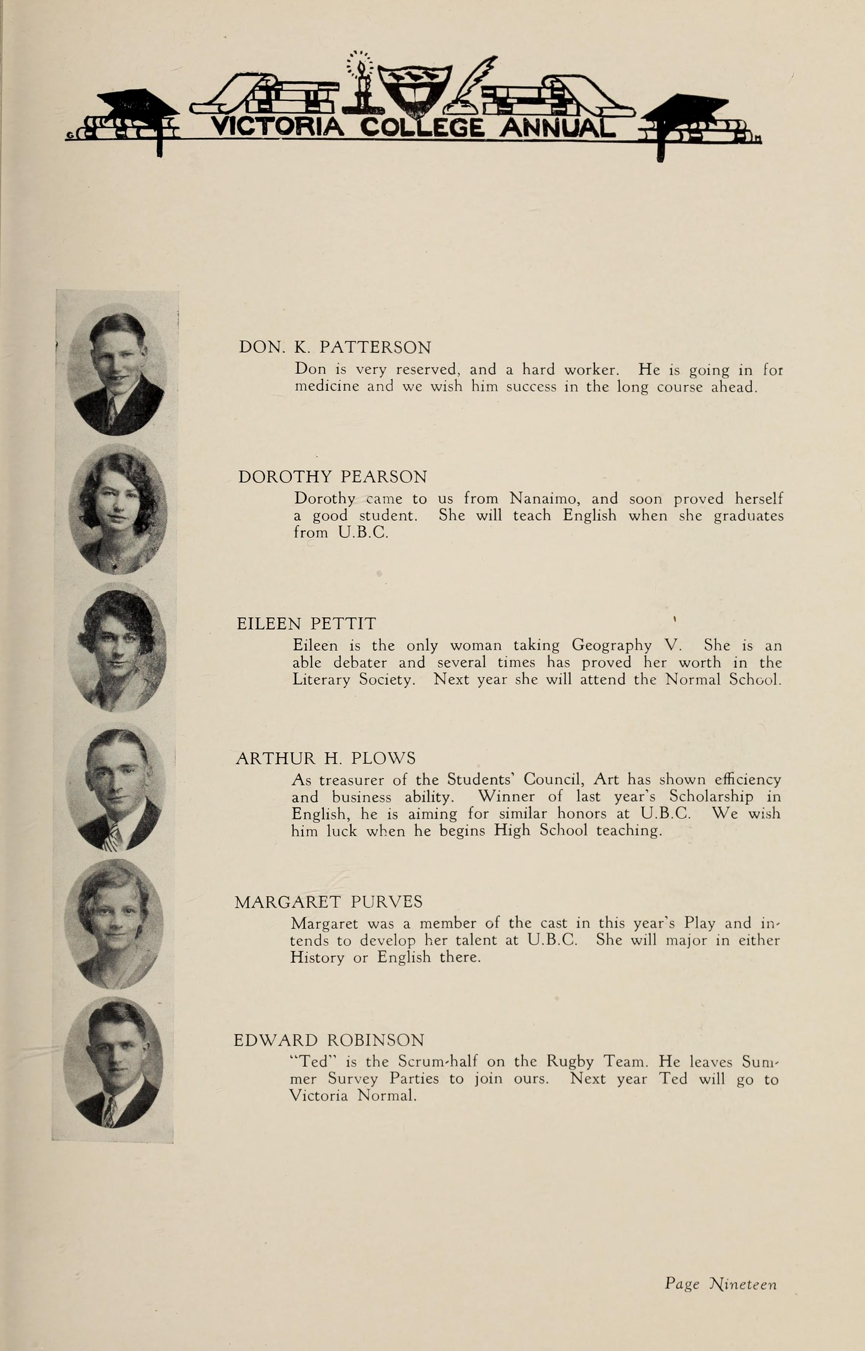 Photo of EDWARD HANDLEY ROBINSON– From the 1930 yearbook of Victoria College.  Military Attestation papers show attendance 1927-30