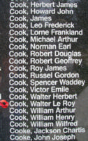 Memorial– Flying Officer Walter Le Roy Cook is also commemorated on the Bomber Command Memorial Wall in Nanton, AB … photo courtesy of Marg Liessens