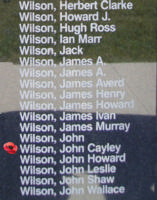 Memorial– Pilot Officer John Cayley Wilson is also commemorated on the Bomber Command Memorial Wall in Nanton, AB … photo courtesy of Marg Liessens