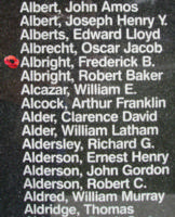 Memorial– Flight Sergeant Frederick Bruce Albright is also commemorated on the Bomber Command Memorial Wall in Nanton, AB … photo courtesy of Marg Liessens