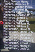 Memorial– Pilot Officer William Mortimer Richards is commemorated on the Bomber Command Memorial Wall in Nanton, AB … photo courtesy of Marg Liessens