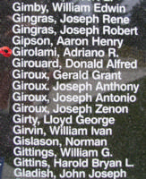 Memorial– Flying Officer Adriano Richard Girolami is also commemorated on the Bomber Command Memorial Wall in Nanton, AB … photo courtesy of Marg Liessens