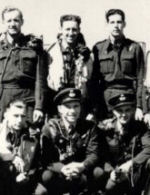 Group photo– Chester Gowrie is the second on the right (front row). These are the surviving Canadian members of the Dambuster Raid of May 17, 1943 (RAF 617 squadron).