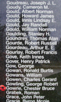 Memorial– WI II W Op/Air Gunner Chester Bruce Gowrie is also commemorated on the Bomber Command Memorial Wall in Nanton, AB … photo courtesy of Marg Liessens