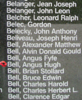 Memorial– Pilot Officer Angus Hugh Bell is also commemorated on the Bomber Command Memorial Wall in Nanton, AB … photo courtesy of Marg Liessens