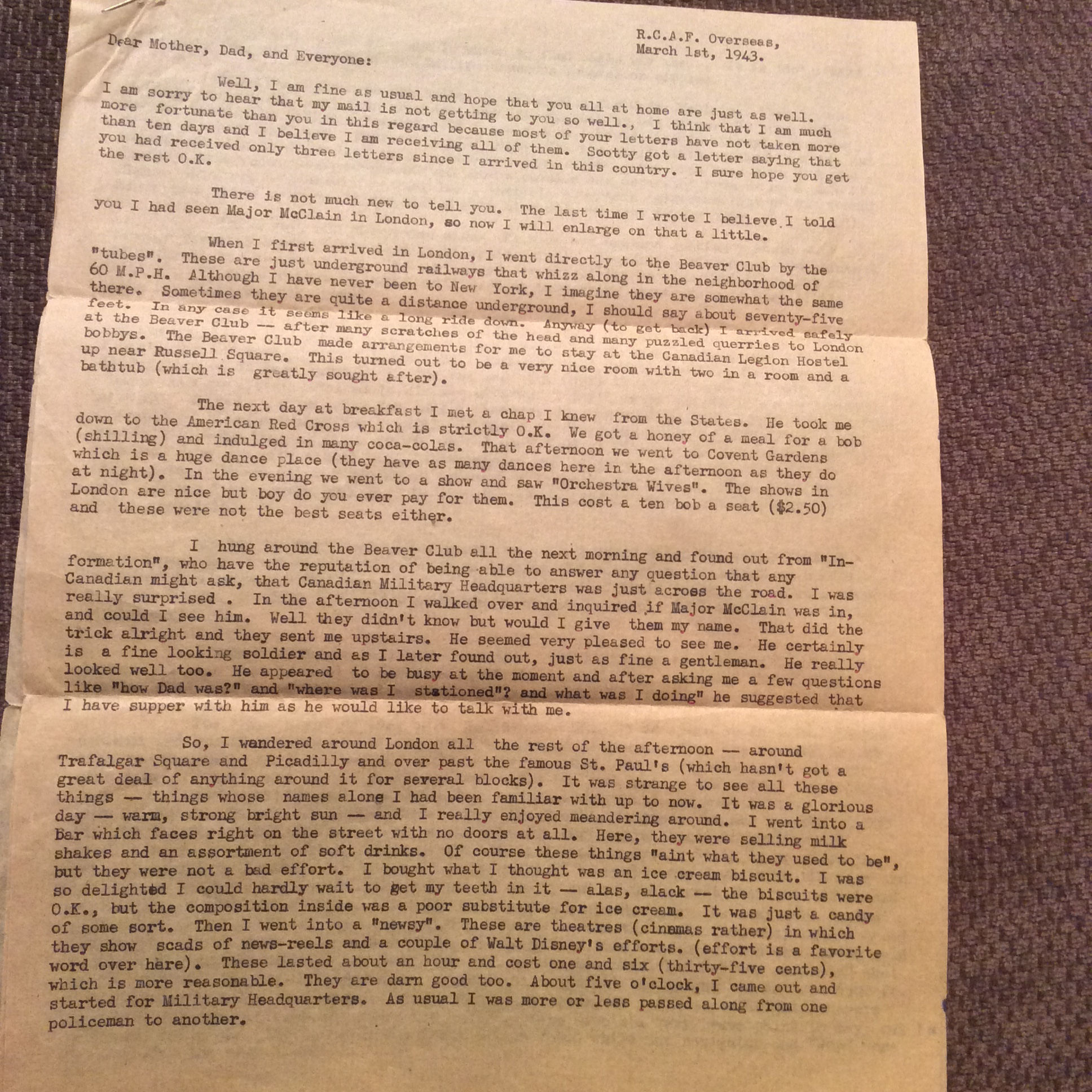 """Letter– My uncle wrote home to my mom Mary Cahill and his family in March 1943. I have attached the 1st of a 4 page letter where he talks about general life, but where he tells them a story of their plane having trouble during a routine exercise called a """" Bulls-eye"""" and how they survived the plane crash.  It is really the only story that I have and I have the original copy. Would anyone be interested in this .... Maybe for museum or??   Please let me know."""