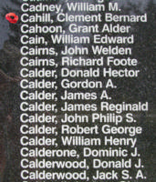 Memorial– Warrant Officer Class II Clement Bernard Cahill is also commemorated on the Bomber Command Memorial Wall in Nanton, AB … photo courtesy of Marg Liessens