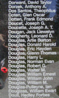 Memorial– Pilot Officer Walter Morrison Douglas is also commemorated on the Bomber Command Memorial Wall in Nanton, AB … photo courtesy of Marg Liessens