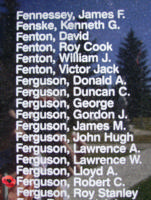 Memorial– Flight Sergeant Robert Chrysler Ferguson is also commemorated on the Bomber Command Memorial Wall in Nanton, AB … photo courtesy of Marg Liessens