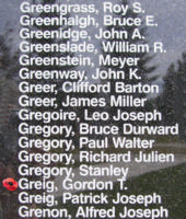Memorial– Pilot Officer Gordon Templeton Greig is also commemorated on the Bomber Command Memorial Wall in Nanton, AB … photo courtesy of Marg Liessens