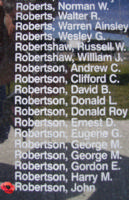 Memorial– Warrant Officer Class II John Robertson is also commemorated on the Bomber Command Memorial Wall in Nanton, AB … photo courtesy of Marg Liessens