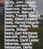 Memorial– Pilot Officer John Joseph Scully is commemorated on the Bomber Command Memorial Wall in Nanton, AB … photo courtesy of Marg Liessens