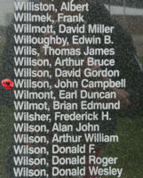 Memorial– Flight Sergeant John Campbell Willson is also commemorated on the Bomber Command Memorial Wall in Nanton, AB … photo courtesy of Marg Liessens