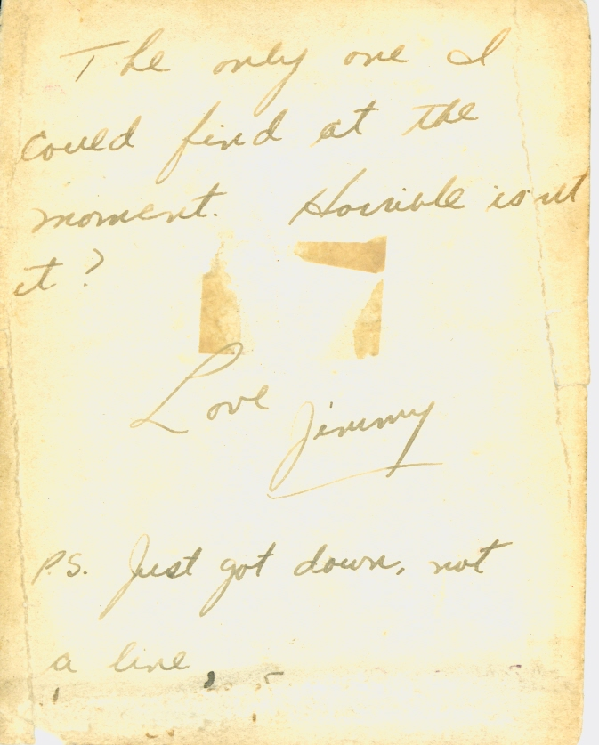 Reverse side of Photo– Censored note to girlfriend Carole Pitts on back of photograph