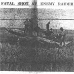 """Newspaper Clipping– """"Greater Asia"""" newspaper, Rangoon, Burma, dated 12 October 1943.  Published in English to appeal to the Burmese and Indian English-speaking citizens, """"Greater Asia"""" printed a page one story on 12 October (see separate image) describing the shooting down of Paul Belkin's Liberator by Sgt Maj Nishizawa (a fighter pilot for the famed 64th Sentai of the Japanese Army Air Force).  This photo & caption accompanied the story.  The reproduction is a scan of a poor copy microfilm image from the US National Archives, but it clearly shows the rear fuselage, one of two rudders, the horizontal stabilizer, & rear turret of a B-24 Liberator.  Presumably, this was, indeed, Paul's aircraft, but this has not been proven."""