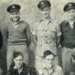 Group Photo– In this photo are all six Canadians, and seven of the eight men who died (the full crew) when 159 Squadron Liberator KH255 was shot down by anti-aircraft fire during a 9 Feb 1945 raid on the port of Khao Huagang, Thailand; only 1739627 RAF Sgt Derrick Charles North Burton is absent.  The KH255 crew are buried in Collective Grave 7A. E. 10-17, Taukkyan War Cemetery, Burma.  [Crew positions on 9.2.45 are given.]    Back row, left to right:   J/12468 F/O SCHROEDER, William Gerald, Centralia, Ontario [pilot] J/44860 P/O MCMILLAN, Richard Lyle, Vancouver, British Columbia [2nd pilot] J/45103 P/O ZAKOW, Nick (birth name ZAICZKOWSKI), Windsor, Ontario [navigator] J/43938 P/O JOHNSON, Kristinn Gudmundur, Gimli, Manitoba [bomb aimer] J/45225 P/O TALBOT, Robert, Vancouver, British Columbia [wireless operator] **Sgt Rowley, RAF    Front row, left to right:   **Sgt Worseley, RAF  **Sgt Meadows, RAF  2222977 Sgt BRIGHT, Roland Bernard, RAF, Langwith, UK [nose gunner] **Sgt Leishman, RAF    **These four men in the were not aboard KH255 when shot down.