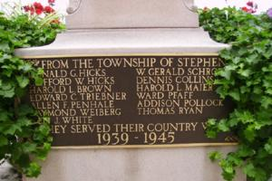Cenotaph– Flight Lieutenant William Gerald Schroeder is also commemorated on the cenotaph in Exeter, ON … photo courtesy of Marg Liessens
