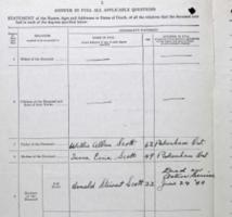 Document– Form with family information completed by Kenneth Scott shows that his only sibling, brother Donald Stewart Scott, was killed on active service in 1944.