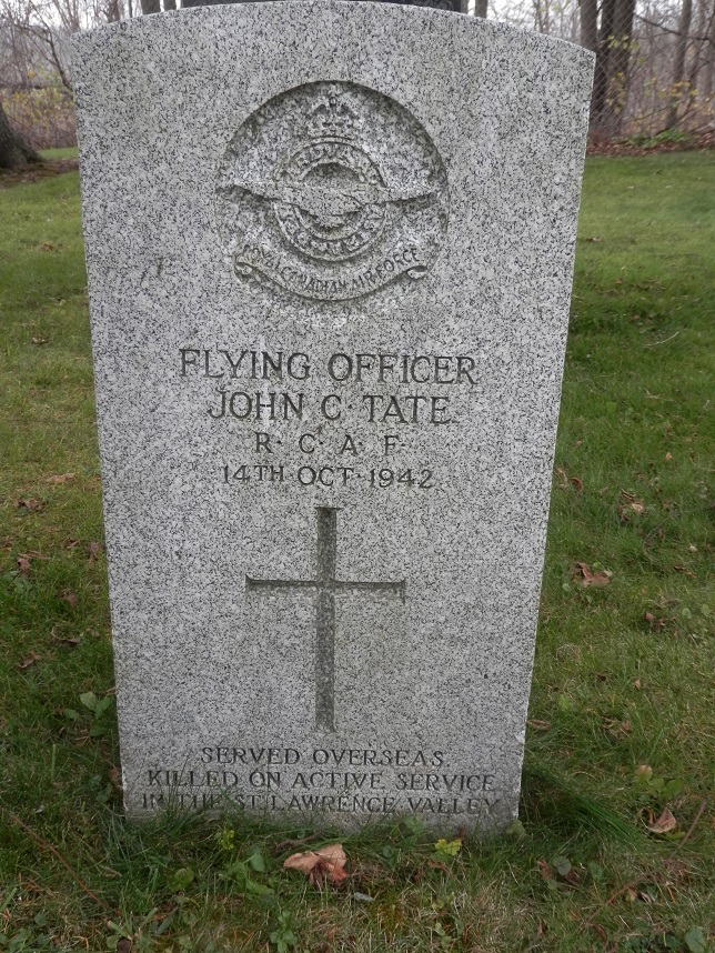 Grave marker– John C Tate Flying Officer RCAF, buried in St James Anglican Cemetery, Paris, ON