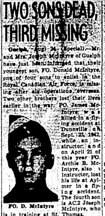 Newspaper Clipping– Mentioned in his brother Donald's newspaper clipping. Memorialized on the pages of the Globe and Mail. Submitted for the project, Operation Picture Me