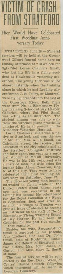 Press Clipping– Sergeant Lorne Chalmers Small obit London Ontario Free Press June 27 1942 courtesy McGill University archives