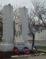 Merritton War Memorial– Merritton Ontario War Memorial.  Sgt. James Forsyth's name was accidentally not inscribed on the memorial.
