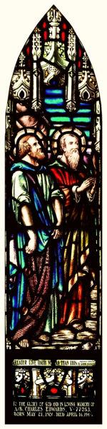 Stained Glass Window– Stained glass window from St. John's Anglican Church, Thunder Bay, Ontario dedicated to Charles Edwards, KIA