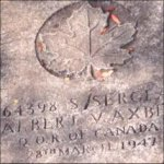 Grave Marker– This photo of S/Sgt Axbey's gravemarker was taken by Padre Craig Cameron of The QOR of C in 1999.