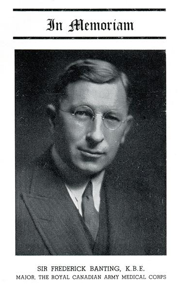Memorial– Entry in memory of Banting from Torontonensis, University of Toronto yearbook, 1941.