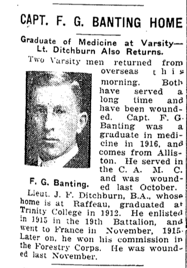 Newspaper Clipping– Banting arrives home at the end of World War I. From the Toronto Star. Submitted for the project, Operation: Picture Me
