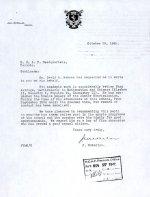 Lettre – Lettre du directeur de l'école secondaire de Barnes au bureau de recrutement de l'ARC.
