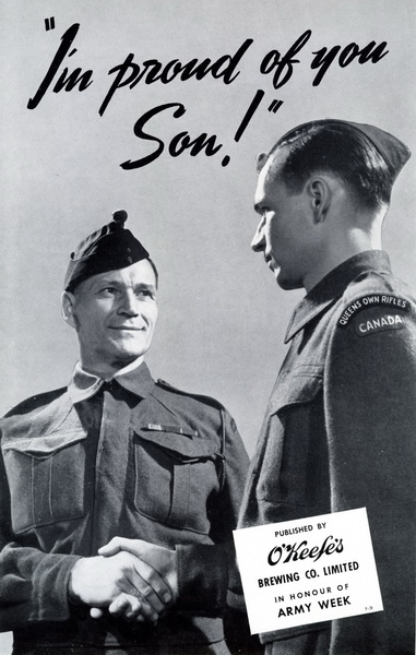 Poster– This poster was used, I understand, in a recruitment campaign and was displayed on streetcars in Toronto.  My Grandfather, Angus Charles Smith is on the left, and my Father, Elwyn Alfred Smith (B65506) is on the right. 
