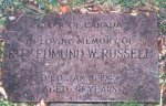 Gravemarker– Padre Cameron took this photo of Rifleman Russell's gravemarker in May 1997.