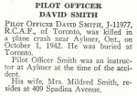 Obituary– David Smith is honoured on page 77 of the memorial book,
